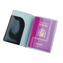 Protège passeport noir symbole avion en PVC