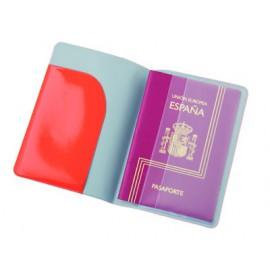 Protège passeport rouge symbole avion en PVC